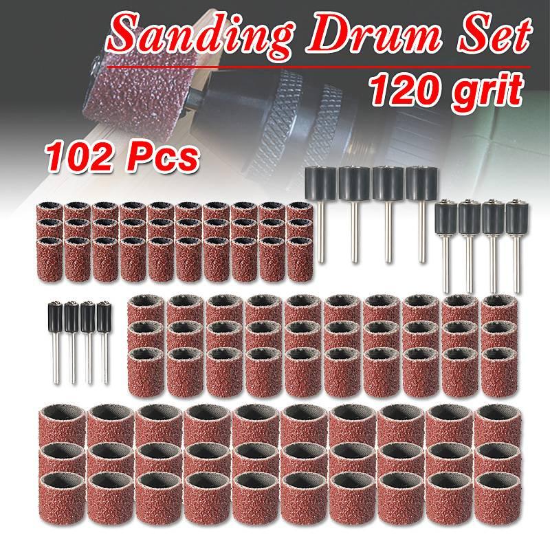 102pcs 120 Grit Sanding Drum Kit With 1/2 3/8 1/4 Inch Sanding Mandrels Fit Dremel Rotary Tools