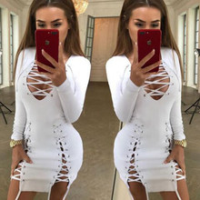 2019 lato biały V Neck sukienka bandażowa z długim rękawem kobiety Celebrity Birthday Party Hollow Out ołówek Bodycon sukienki damskie()