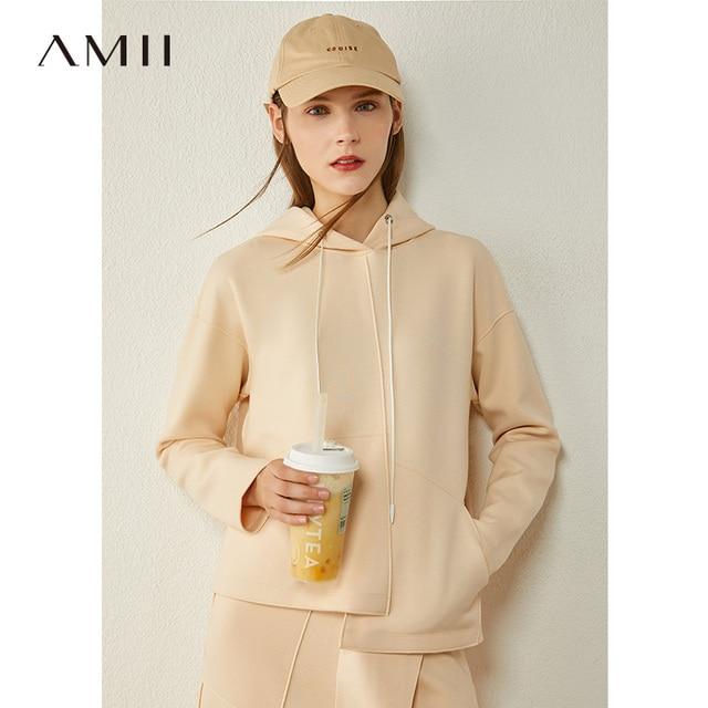 AMII Minimalism Autumn Causal Women Hoodies Set Solid Hooded Loose Sweater Hoodies Solid Irregular Hem Female Skirt 12020233 2