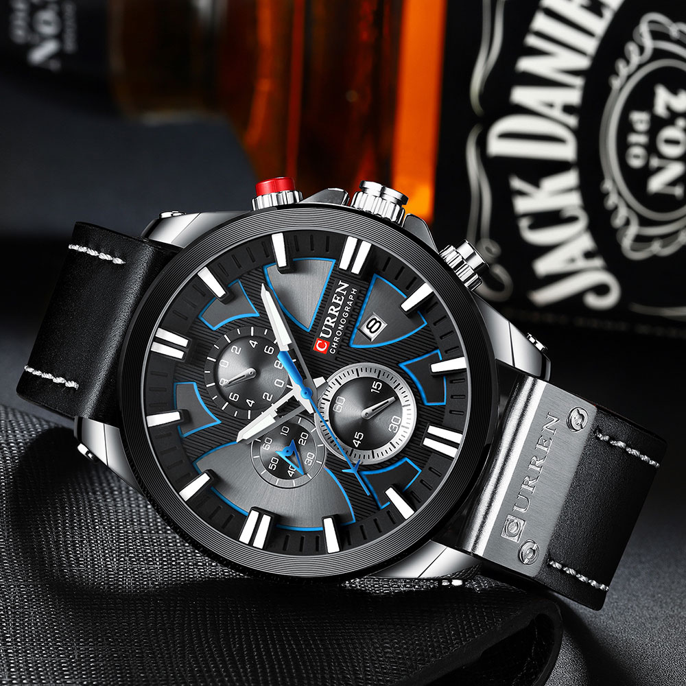 CURREN Watch Chronograph Sport Mens Watches Quartz Clock Leather Male Wristwatch Relogio Masculino Fashion Gift for Men H5e775ef18ef7487783f1b96f75bffa481