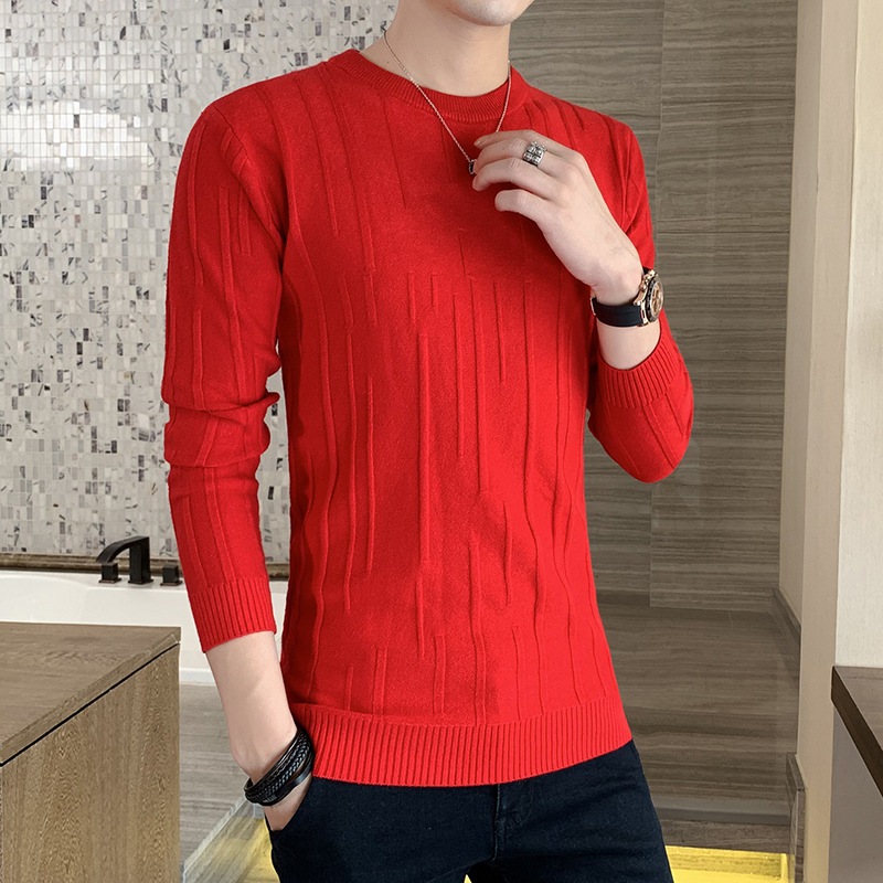 New Sweater Men Long Sleeved White Red Black Winter Grey Fashion O-Neck Pullovers Casual Mens Sweaters