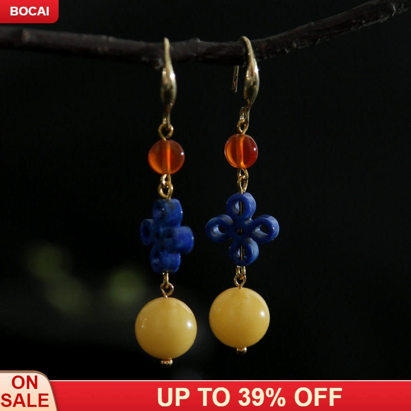 High end design manual natural beeswax green gold hollow out classical temperament of Chinese knot earrings ears