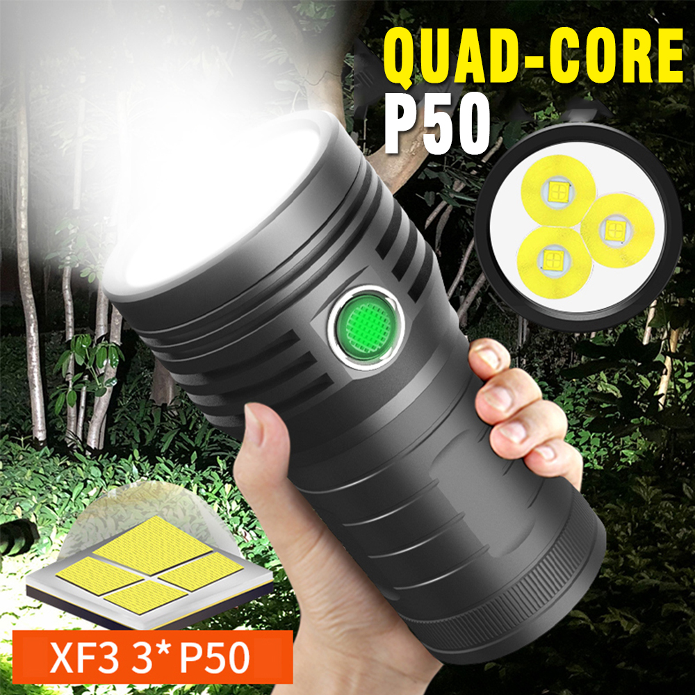 Brightest Lantern 3 * T6 /P50 LED Flashlight 4800mAh Built-in 18650 Battery The Most Powerful Waterproof Torch Gift Box