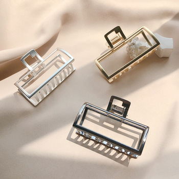 Simple Style Square Shaped Metal Hair Claws Alloy Bath Clips Makeup Clamp Hairpin Adult Women Girls Crabs Accessories