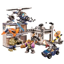 Marvels Avengers Compound Battle Superhero Endgame Playset Thanos Hulk Iron Man Captain Nebula Figure Compatible 76131 Blocks avengers 4 stark jet hydro man iron man underground base battle hammer storm tomahawk thanos building blocks bricks boy toy