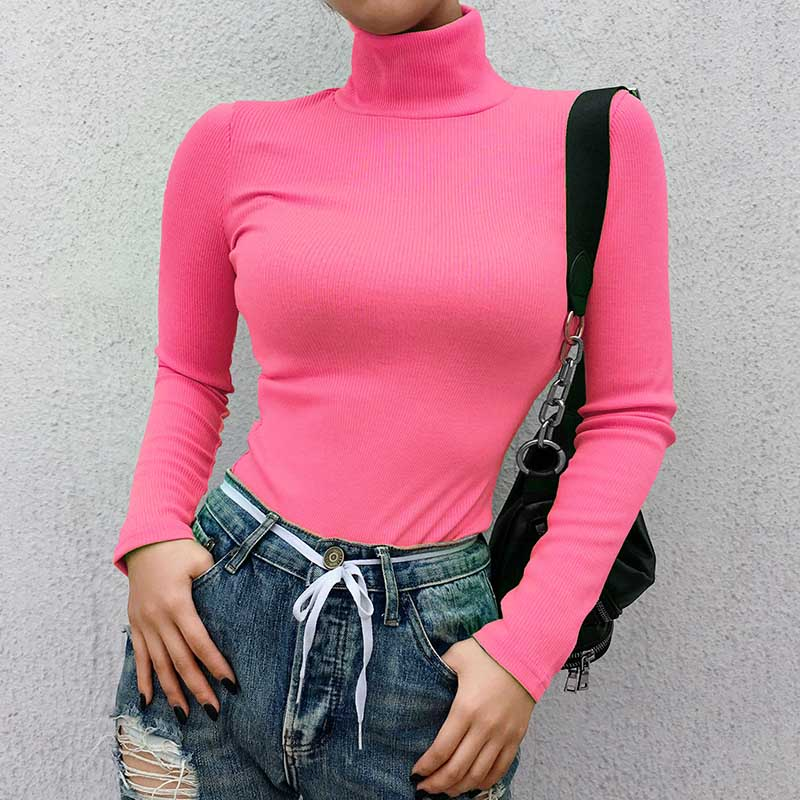 2019 Autumn Winter Neon Color Ribbed   T     Shirt   Women Long Sleeve Turtleneck Tshirt Fashion Slim Pure Color Knitted Tops Tee