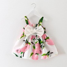 Girls Dresses Girls Sleeveless Vestidos A-Line Print Cotton Children Clothes Baby Girl Dress Drop shipping