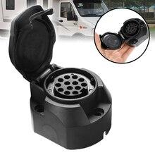 1PC Plastic 12V 13 Pin Socket Trailer Towbar Connector For Cars Vans Caravans Commercial Vehicle RV Ship