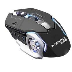 Y-FRUITFUL mysz bezprzewodowa mysz ergonomiczna 6 klawiszy LED 3200 DPI mysz komputerowa mysz cicha mysz do gry PUBG FPS