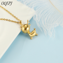 OQEPJ Fashion Simple Elk Necklace Pendant Stainless Steel Rosegold gold Silver Color Pendants Animal Necklaces Jewelry