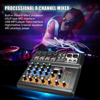 Top Mini Portable Mixer 8 Channel Professional Live Studio Audio KTV Karaoke Mixer USB Mixing Console 48V for Family KTV(EU Plug