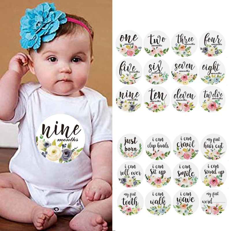 12 Pcs Month Sticker Baby Photography Milestone Memorial Monthly Newborn Kids Flowers Commemorative Card Number Photo Props