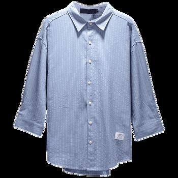 Vertical Stripe Men's Shirt Long Sleeve Casual Japanese Style Mens Fashion Dress Shirts Men's Loose French Oxford Shirts HH50CS