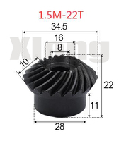 2 stücke 1.5M-22 Zähnen Innen Loch: 8mm Precision Spiral Kegel Getriebe Spiral Kegel Getriebe