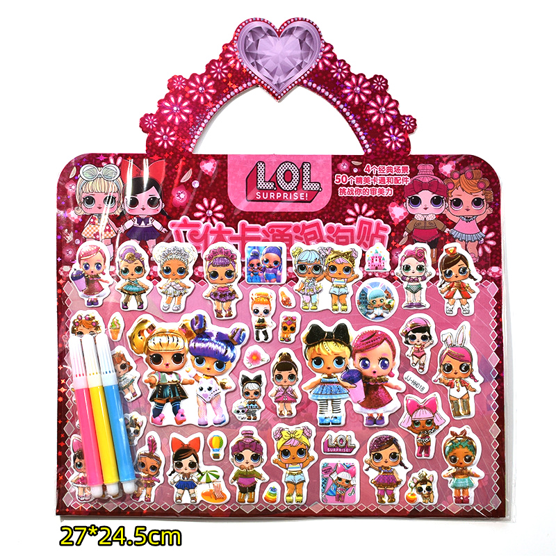 Genuine Lol Surprise Dolls 3D Cartoon Original Lols Dolls Anime Stereoscopic Stickers Action Toys Sets For Girl's Gifts