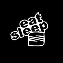 Eat Sleep Seat Funny Vinyl Car-styling Car Sticker Decal Black Silver Graphical 17cm*15cm