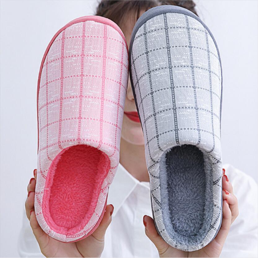 Women Winter Warm Leopard Tartan Slippers Memory Foam Soft Plush Anti-Slip Shoes