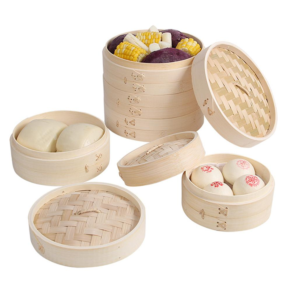 2 Tier Cooking Bamboo Steamer Fish Rice Vegetable Snack Basket Set Kitchen Cooking Tools Dumpling Steamer Steam Pot With Lid