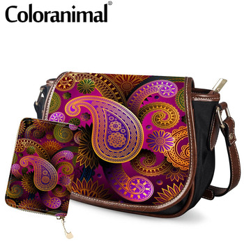 Coloranimal Simple Women Small Saddle Bags Contrast Sapphire and Golden offee Paisley Pattern PU Crossbody Bag Handbags For Girl image