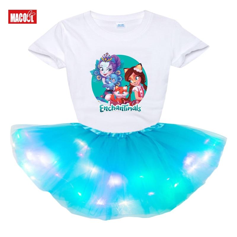 set summer clothes kids girls Tutu Dress Set 2pcs Toddler Baby Kids Light LED Party Dress Children t shirt enchantimals costume