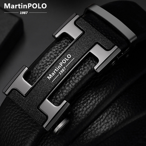 Image 1 - MartinPOLO 남자 벨트 럭셔리 자동 버클 Genune 가죽 스트랩 블랙 망 벨트 디자이너에 대 한 브랜드 고품질 MP02801P