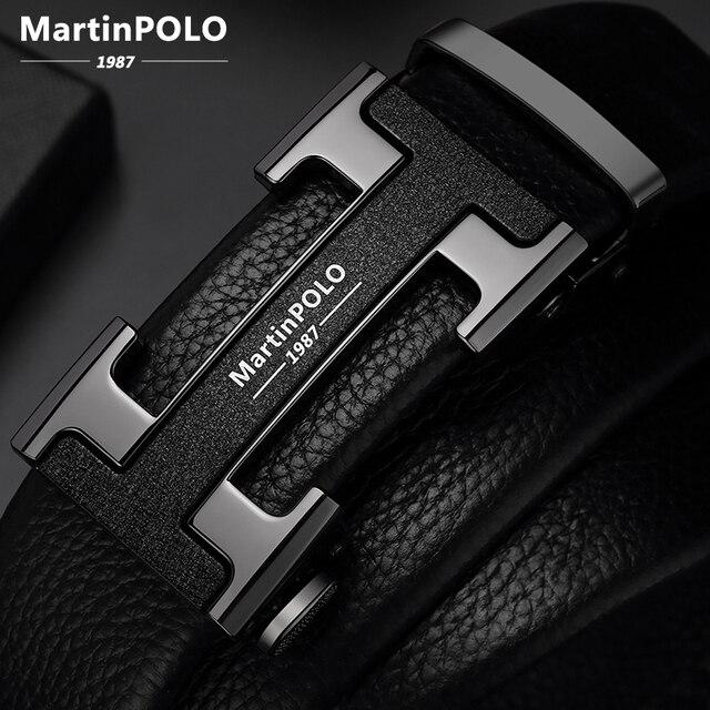 MartinPOLO 남자 벨트 럭셔리 자동 버클 Genune 가죽 스트랩 블랙 망 벨트 디자이너에 대 한 브랜드 고품질 MP02801P