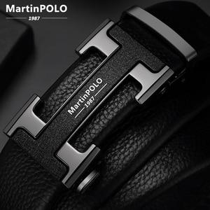 Image 1 - MartinPOLO Männer Gürtel Luxus Automatische Schnalle Genune Lederband Schwarz für Herren Gürtel Designer Marke Hohe Qualität MP02801P