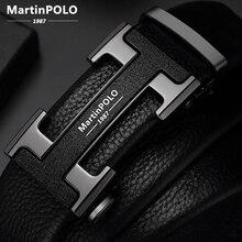 Ремень MartinPOLO MP02801P мужской с автоматической пряжкой, люксовый кожаный пояс, чёрный дизайнерский брендовый