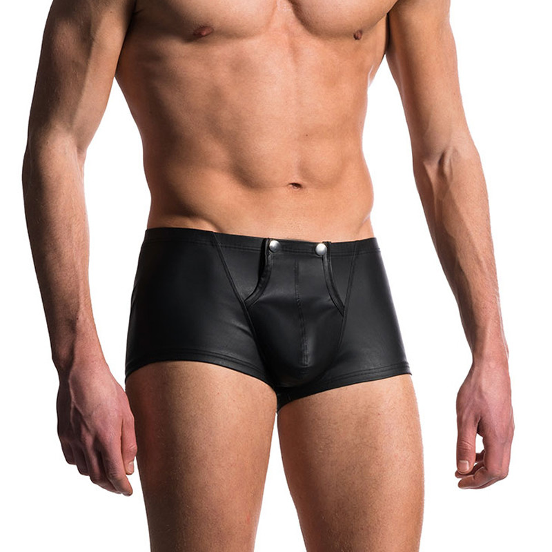 Men Boxers Open Crotch PU <font><b>Leather</b></font> <font><b>Sexy</b></font> Button Front Penis Pouch Male <font><b>Underwear</b></font> Calecon Homme <font><b>Gay</b></font> Boxershorts Calzoncillo Hombre image