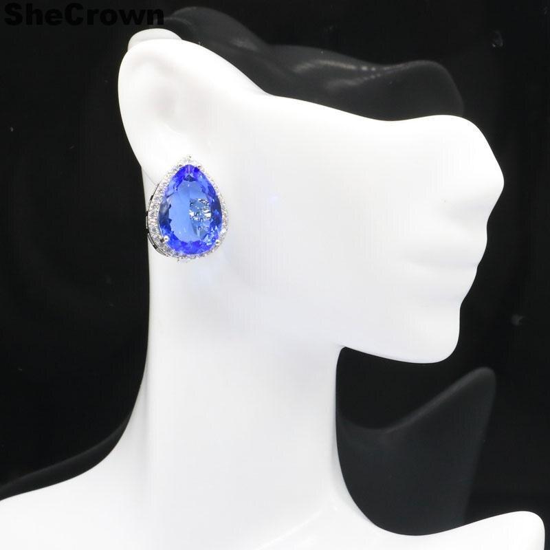 57x27mm élégant rose framboise Rhodolite Grenat cadeau femme argent Boucles d/'oreilles