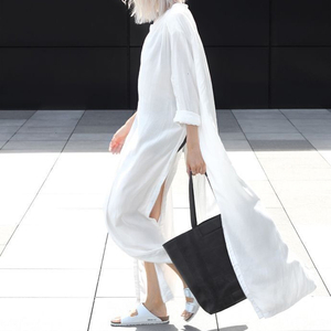 Image 3 - GALCAUR 캐주얼 스플릿 느슨한 여성용 블라우스 긴 소매 우아한 미디 셔츠 탑 여성 패션 의류 2020 조수 가을 빅 사이즈