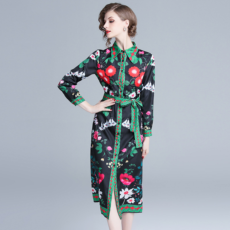 Photo Shoot Ozhouzhan 2018 New Products Europe And America Catwalk Models Positioning Printed Loose-Fit Feminine Dress