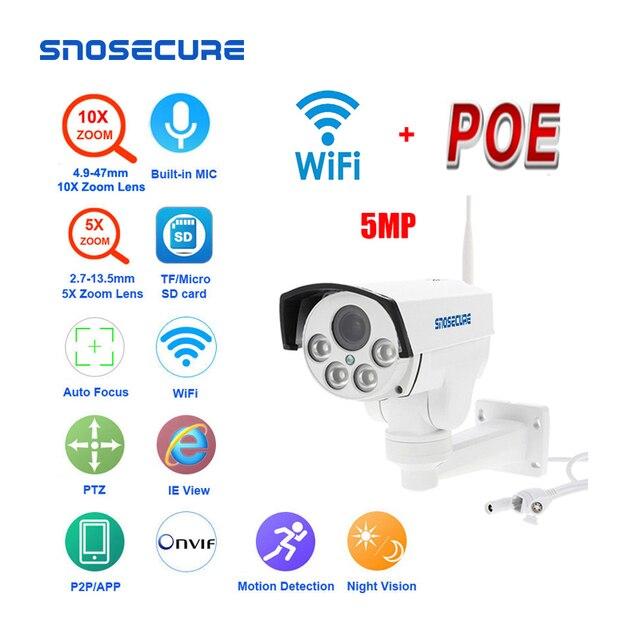 Snosecure wifi câmera ip ptz bala ao ar livre 5x 10x zoom óptico 5mp sem fio ir noite onvif áudio cctv câmera normal e poe