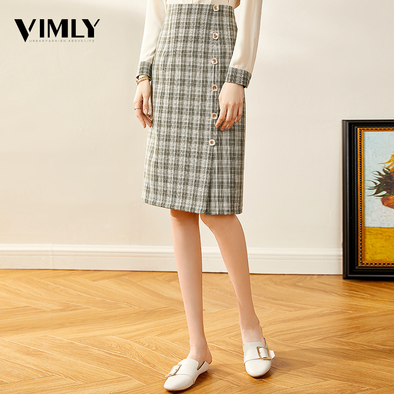 Vimly Elegant Women Green Plaid Skirt Office Ladies England Style Skirts Female High Waist Knee Length Skirt Wear