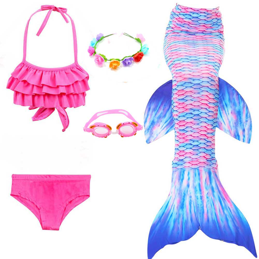 Girls 4pcs Swimsuit Mermaid Bikini Swimmable Princess Swimming Mermaid Tail Costume For Party Gifts 3-12 Years