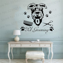 Pet Dog Grooming Art Patterned Wall Stickers Murals Home Living Room Decor Wall Decal Pet Shop Window Poster Wallpaper PW163 rock wall patterned door art stickers