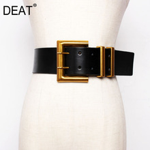 DEAT 2021 New Autumn Trendy Wid Belt For Women Solid Casual Fashion Waistband Wild Metal Buckle Leather Corset Belt Femalee
