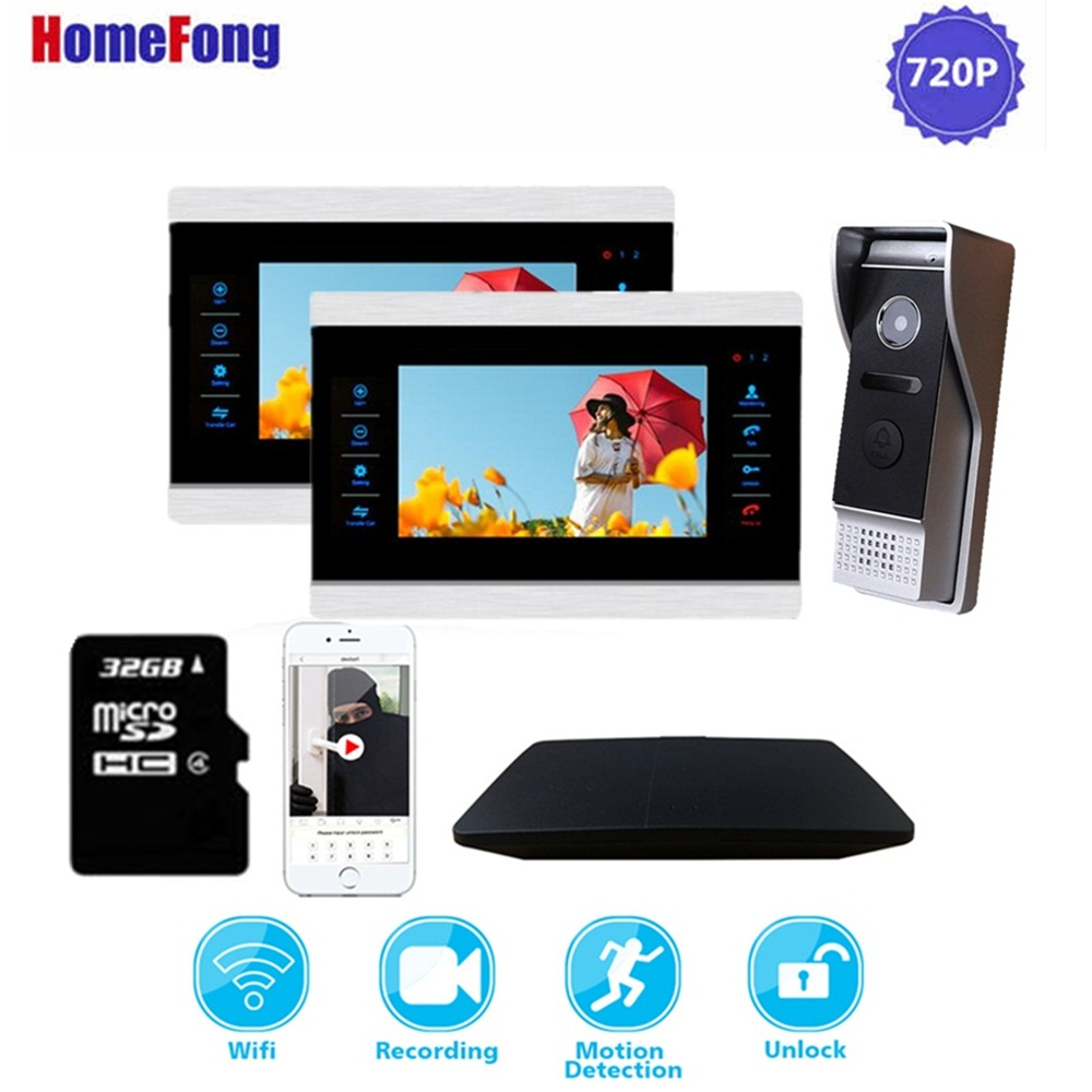 Homefong 720P Wifi Intercom System Wireless Video Doorbell With Monitor Remote Unlock Record Answer Android ISO Phone Supported