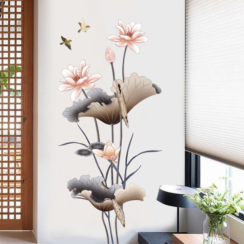 Fashion Country Style Lotus Wall Bedroom Living Room Study Room Wall Sticker Decorative Artistic Flower Easy To Install Remove image
