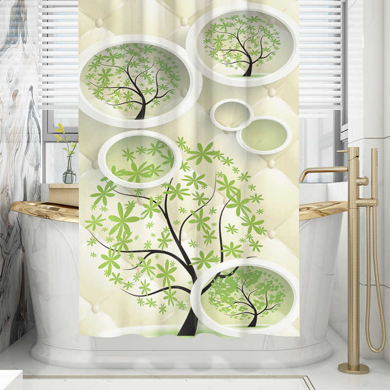 Art Illustratie Boom Douchegordijn Groene Nordic Geometrische Moderne Waterdichte Stof Meeldauw Gordijn Voor Badkamer Douche Nieuwe