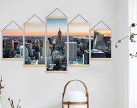 Home Decor Print Canvas 5 Piece Aircraft Landing Landscape Painting Wall Art For Living Room Solid Wood Hanging Scrolls Poster