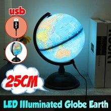 25cm mapa globo do mundo girando suporte + led luz mundo terra globo mapa escola geografia educacional crianças explorando decoração de casa