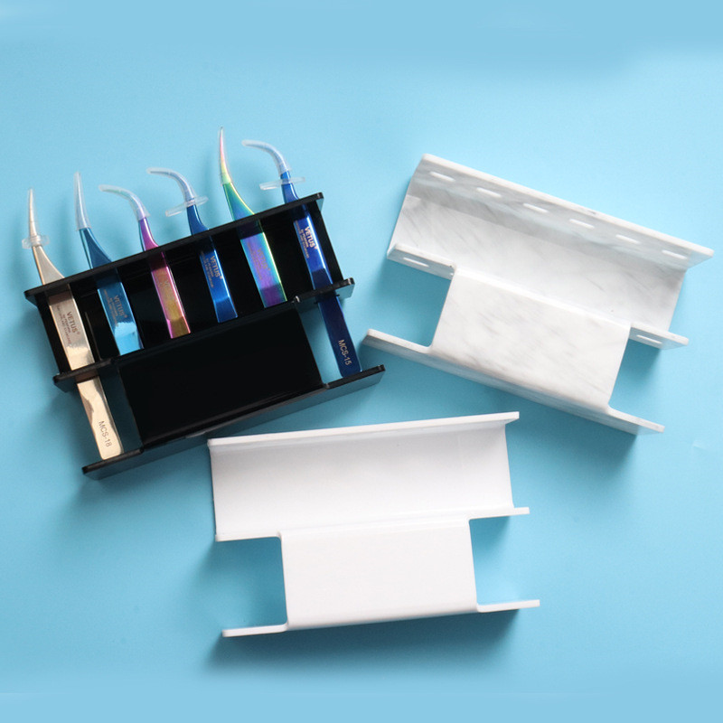 1 Set Acrylic Eyelash Tweezer Storage Holder 6Pcs Durable Convenient Tweezers Stand Shelf Holder Eyelashes extension Makeup Tool in False Eyelashes from Beauty Health