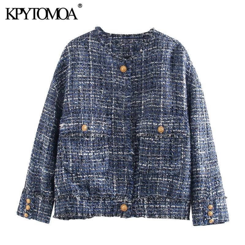 KPYTOMOA Women 2020 Fashion Frayed Trims Pockets Tweed Jacket Coat Vintage O Neck Long Sleeve Loose Female Outerwear Chic Tops