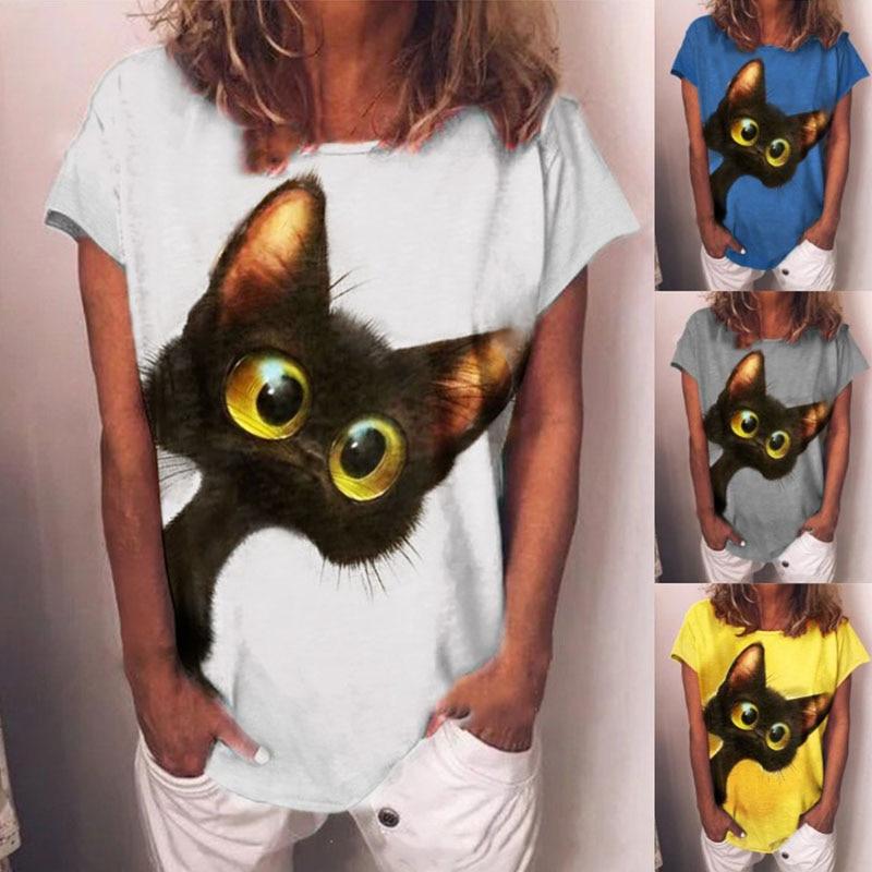 Femmes D'été Imprimé Chat 2021 T-shirts hauts Décontracté Lâche Manches Courtes Chemise De Grande Taille Coton Vêtements Femmes T-shirt Pour Les Femmes