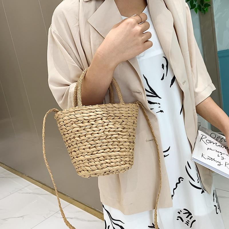 Handmade Women Handbag Summer Beach Vacation Straw Bag Rattan Weave Basket Female Bucket Shoulder Crossbody Bag Bohemian Tote
