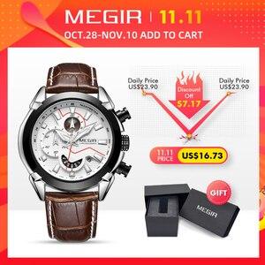 Image 2 - MEGIR montre de Sport militaire pour hommes, marque de luxe en cuir, horloge à Quartz pour hommes, chronographe créatif