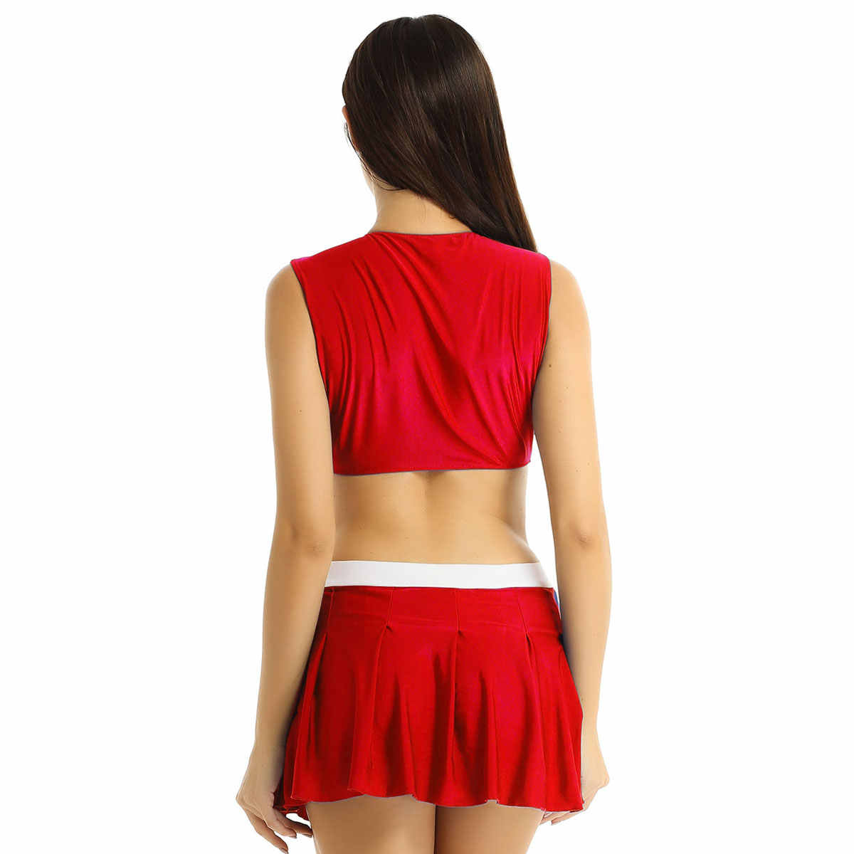 Frauen Cheerleader Kostüm Cheerleading Crop Top mit Mini Plissee Rock Schülerin Cheerleader Dancewear Cosplay Sport Uniform