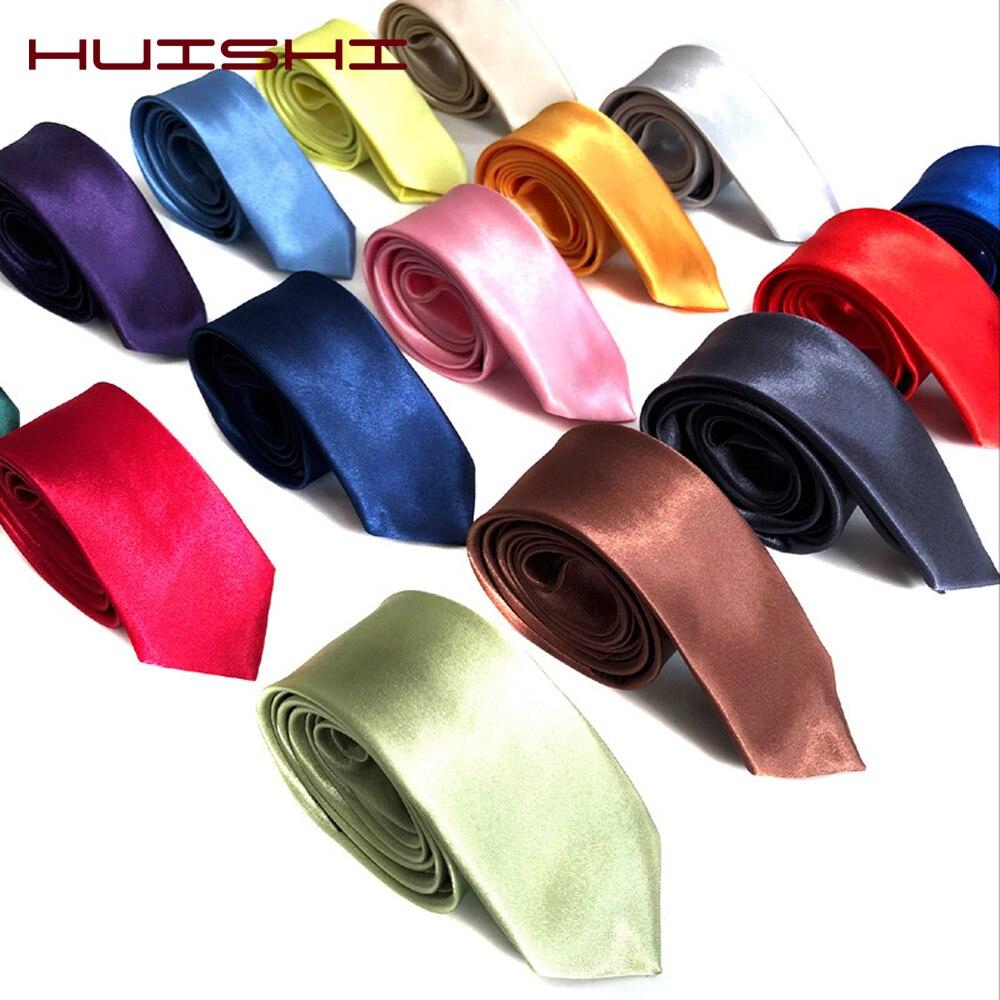 HUISHI Tie For Men Slim Black Tie Solid Color Necktie Polyester Narrow Cravat 5cm Width 38 Colors Blue Gold Party Formal Ties