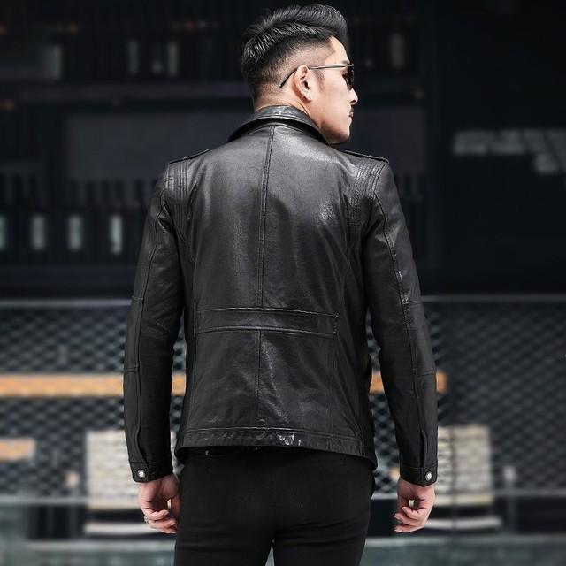 Autumn New Brand Sheepskin Moto Biker Thin Short Coats
